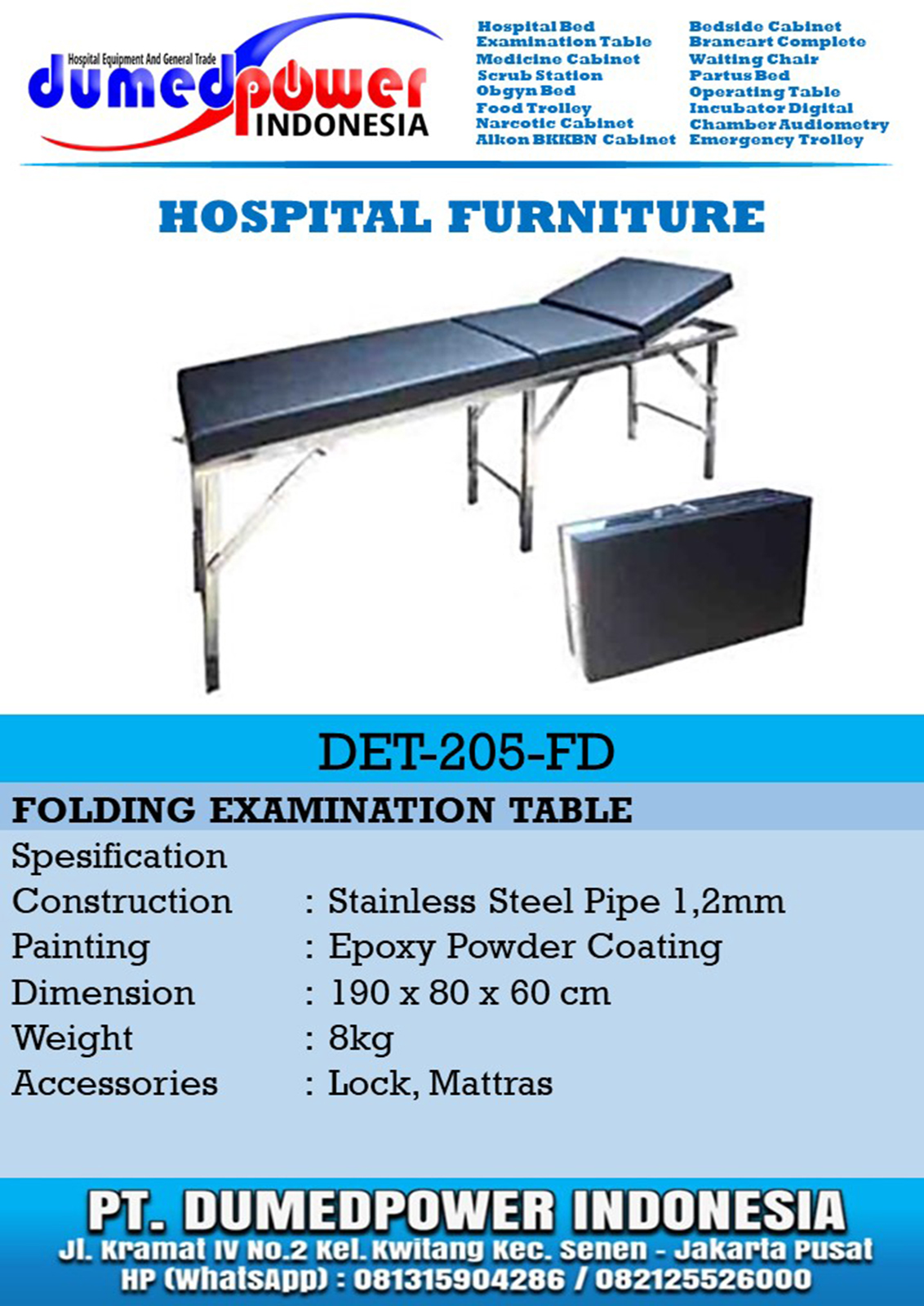 Folding Examination Table DET-205-FD