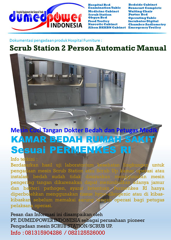 Scrub Station - Scrub Up Sink - Automatic Manual - 2 Person PERMENKES RI
